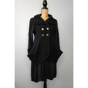 LILITH Black Button Front Long Cardigan Boho